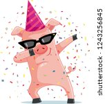 funny party  pig dabbing ... | Shutterstock .eps vector #1243256845