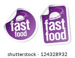 Fast Food stickers set in in space style. - stock vector