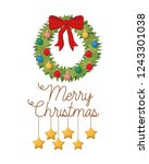 garland with bow and merry... | Shutterstock .eps vector #1243301038