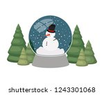 snowman and christmas pine in... | Shutterstock .eps vector #1243301068