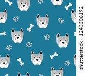 seamless cute dog pattern.... | Shutterstock .eps vector #1243306192
