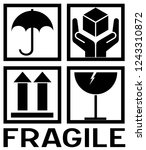 sticker  fragile   handle with... | Shutterstock .eps vector #1243310872