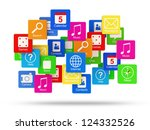 cloud of application icons... | Shutterstock . vector #124332526