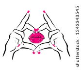 beautiful hands making heart... | Shutterstock .eps vector #1243343545