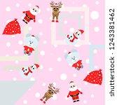 christmas card  santa snowman... | Shutterstock .eps vector #1243381462