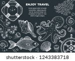 sea animals hand drawn... | Shutterstock .eps vector #1243383718