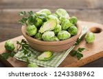 fresh brussel sprouts in... | Shutterstock . vector #1243388962