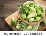 fresh brussel sprouts in... | Shutterstock . vector #1243388965