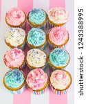 cupcakes with pink  white and... | Shutterstock . vector #1243388995