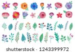 colorful floral set of hand... | Shutterstock . vector #1243399972