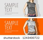 sketch of standing young woman... | Shutterstock .eps vector #1243400722