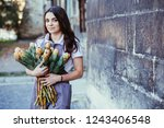portrait of charming woman... | Shutterstock . vector #1243406548