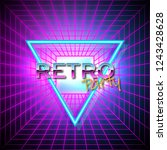 futuristic background 80s style.... | Shutterstock .eps vector #1243428628