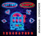 lottery is a neon sign. neon... | Shutterstock .eps vector #1243434058