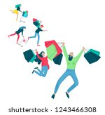collection of people carrying... | Shutterstock .eps vector #1243466308