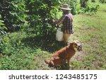 puerto rican coffee farmers ... | Shutterstock . vector #1243485175