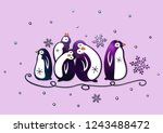 purple penguins with snowflakes.... | Shutterstock . vector #1243488472