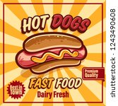 hot dogs fast food banner | Shutterstock .eps vector #1243490608