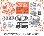 christmas menu template for... | Shutterstock .eps vector #1243493098