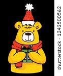 bear winter merry christmas... | Shutterstock .eps vector #1243500562
