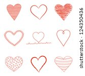 set of valentine's day  heart... | Shutterstock .eps vector #124350436