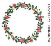 christmas  watercolor wreath.   Shutterstock . vector #1243514095