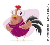 funny cartoon chicken with... | Shutterstock .eps vector #1243518142