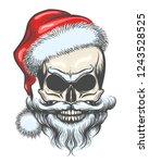 bearded skull in santa claus... | Shutterstock .eps vector #1243528525