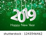 green happy new year 2019... | Shutterstock .eps vector #1243546462