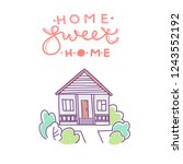 home sweet home. flat house... | Shutterstock .eps vector #1243552192