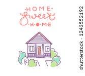 home sweet home. flat house... | Shutterstock .eps vector #1243552192
