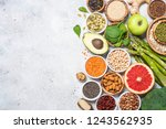 superfoods. organic food and... | Shutterstock . vector #1243562935