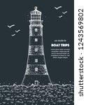 lighthouse sketch vector... | Shutterstock .eps vector #1243569802