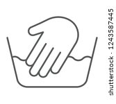 hand washing thin line icon ... | Shutterstock .eps vector #1243587445