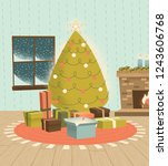 vintage christmas tree with... | Shutterstock .eps vector #1243606768
