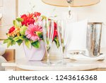 two empty glasses for champagne ... | Shutterstock . vector #1243616368