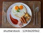 top view of breakfast set with... | Shutterstock . vector #1243620562