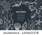 underwater world hand drawn... | Shutterstock .eps vector #1243621378