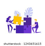 people solve puzzle. teamwork ...   Shutterstock .eps vector #1243651615