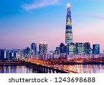 twilight sky at han river in... | Shutterstock . vector #1243698688