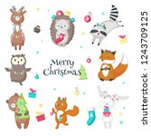 christmas animals. vector... | Shutterstock .eps vector #1243709125