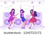 young beautiful woman dancing... | Shutterstock .eps vector #1243722172