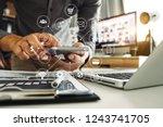 businessman hand working...   Shutterstock . vector #1243741705