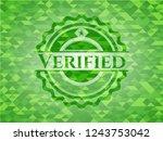 verified green mosaic emblem | Shutterstock .eps vector #1243753042