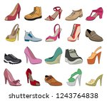 set of shoes flat vector icons | Shutterstock .eps vector #1243764838