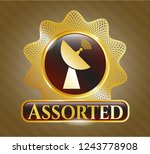 gold badge with radar icon and ... | Shutterstock .eps vector #1243778908