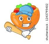 playing baseball falafel in...   Shutterstock .eps vector #1243795402