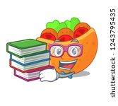 student with book pita bread...   Shutterstock .eps vector #1243795435