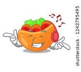 listening music labneh pita...   Shutterstock .eps vector #1243795495