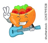 with guitar labneh pita bread...   Shutterstock .eps vector #1243795528